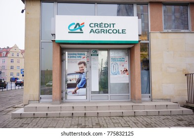POZNAN, POLAND - DECEMBER 15, 2017: Entrance to a Credit Agricole bank in the city center
