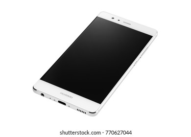 POZNAN, POLAND- December 6, 2017: Single white mobile phone, smart phone Huawei P9 model isolated on the white background.