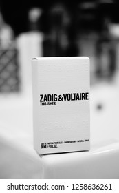 Poznan, Poland - December 8, 2018: Zadig & Voltaire women perfume in a box in black and white.