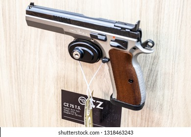 Poznan, Poland, Feb 02, 2019:  CZ 75 B Cal.9 Luger TS Tactical Sports, semi-automatic pistol made by Czech firearm manufacturer CZUB in Czech Republic, exposition at KNIEJE Hunting and shooting fair,