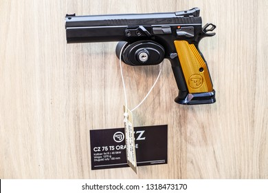 Poznan, Poland, Feb 02, 2019:  CZ 75 Cal.9 Luger TS Tactical Sports, semi-automatic pistol made by Czech firearm manufacturer CZUB in Czech Republic, exposition at KNIEJE Hunting and shooting fair,