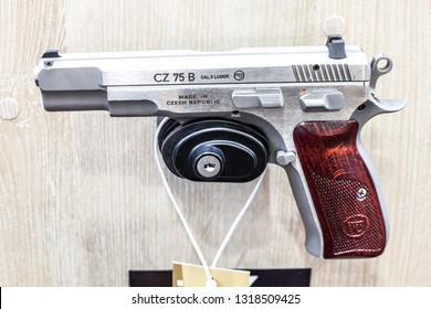 Poznan, Poland, Feb 02, 2019:  CZ 75 B Cal.9 Luger, semi-automatic pistol made by Czech firearm manufacturer CZUB in Czech Republic, exposition at KNIEJE Hunting and shooting fair,