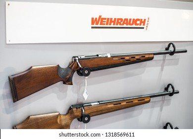 Poznan, Poland, Feb 02, 2019: Weihrauch rifles, sporting firearms manufacturer Weihrauch makes rimfire, centerfire, air rifles, pistols, exposition, KNIEJE Hunting shooting fair,