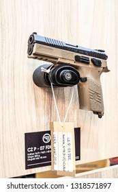 Poznan, Poland, Feb 02, 2019: CZ Ceska Zbrojovka P.07 FDE, semi-automatic pistol made by Czech firearm manufacturer CZUB in Czech Republic, exposition at KNIEJE Hunting and shooting fair,