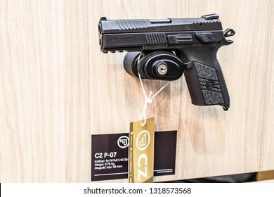 Poznan, Poland, Feb 02, 2019: CZ Ceska Zbrojovka P.07, semi-automatic pistol made by Czech firearm manufacturer CZUB in Czech Republic, exposition at KNIEJE Hunting and shooting fair,