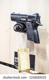 Poznan, Poland, Feb 02, 2019: CZ 2075 RAMI Cal.9, semi-automatic pistol made by Czech firearm manufacturer CZUB in Czech Republic, exposition at KNIEJE Hunting and shooting fair,