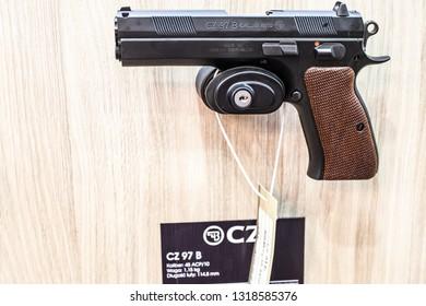 Poznan, Poland, Feb 02, 2019: CZ Ceska Zbrojovka 97 B, semi-automatic pistol made by Czech firearm manufacturer CZUB in Czech Republic, exposition at KNIEJE Hunting and shooting fair,