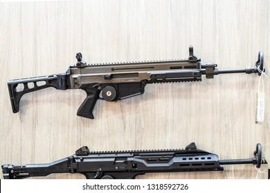 Poznan, Poland, Feb 02, 2019: CZ Ceska Zbrojovka Scorpion, Bren, rifles, guns, carbines, made by Czech firearm manufacturer CZUB in Czech Republic, exposition, KNIEJE Hunting shooting fair,