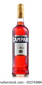 POZNAN, POLAND - FEB 14, 2018: Bottle of Campari, an alcoholic liqueur containing herbs and fruit (including chinotto and cascarilla), invented in 1860 by Gaspare Campari in Novara, Italy.