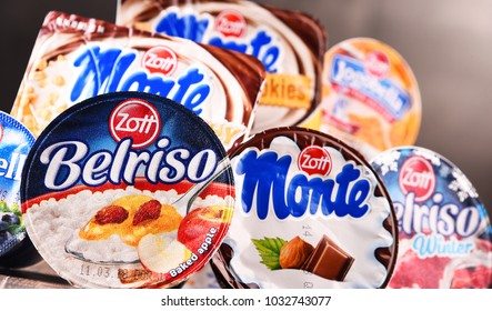 POZNAN, POLAND - FEB 21, 2018: Products of Zott, a European dairy company founded in Mertingen, Germany in 1926, presently one of the larger dairies in Europe