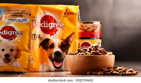 POZNAN, POLAND - FEB 21, 2018: dog food products of Pedigree Petfoods, subsidiary of the American group Mars, Incorporated, headquartered in McLean, Virginia, U.S.