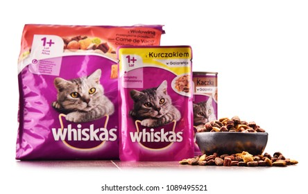 POZNAN, POLAND - FEB 21, 2018: Whiskas products,  global brand of cat food produced by the American company Mars, Inc., available as meat-like pieces in cans, pouches, or dry biscuits