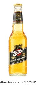 POZNAN, POLAND - February 14, 2014: Miller Genuine Draft is the original cold filtered packaged draft beer, a product of the Miller Brewing Company owned by SABMiller.