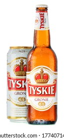 POZNAN, POLAND - FEBRUARY 14, 2014: Tyskie Gronie is the best selling brand of beer in Poland, produced by Kompania Piwowarska, a subsidiary of multinational brewing and beverage corporation SABMiller