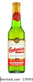POZNAN, POLAND - FEBRUARY 26, 2014: Budweiser Budvar, one of the highest selling beers in the Czech Rep. exported into more than 60 countries, produced in Ceske Budejovice by Budweiser Budvar Brewery