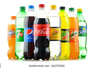 POZNAN, POLAND - JAN 18, 2017: Global soft drink market is dominated by brands of few multinational companies founded in North America. Among them are Pepsico, Coca Cola and Dr. Pepper Snapple Group