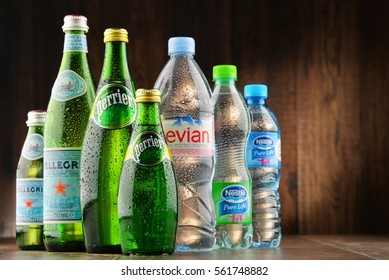 POZNAN, POLAND - JAN 18, 2017: Global bottled water sales have increased dramatically over the past decades. It is estimated that around 200 billion bottles are consumed yearly all over the world