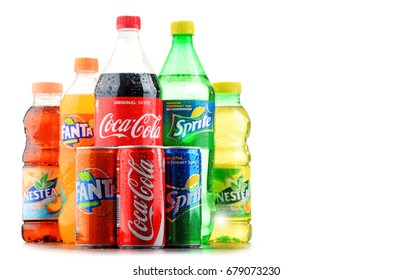 POZNAN, POLAND - JAN 19, 2017: Flagship products of Coca Cola Company, American multinational beverage corporation,  headquartered in Atlanta, Georgia, USA