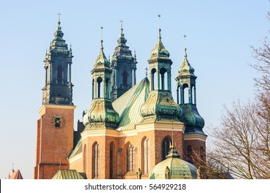 POZNAN, POLAND - JANUARY 23, 2017: Tower roof of the Archcathedral Basilica of St. Peter and St. Paul on the island of Ostrow Tumski