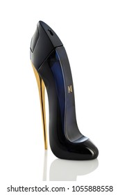 POZNAN, POLAND- January 26, 2018: Carolina Herrera Good Girl New York is the exclusive women's perfumed water in sexy high heel shoe isolated on white background.