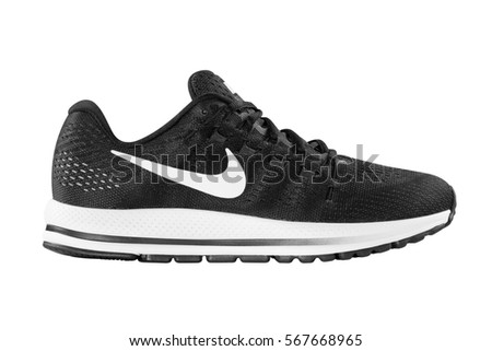0dc6d216 POZNAN, POLAND- January 28, 2017: NIKE ZOOM VOMERO 12 men's running shoes  isolated on the white background - Image