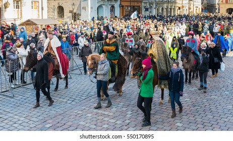 Poznan, POLAND - JANUARY 6, 2017: Epiphany holiday in Christian religion - traditional procession, reconstruction of visit of the Magi to the infant Jesus - also called procession of three kings