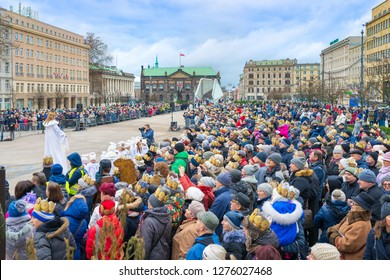 Poznan, POLAND - JANUARY 6, 2019: Epiphany holiday in Christian religion - traditional procession, reconstruction of visit of the Magi to the infant Jesus - also called procession of three kings