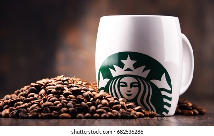 POZNAN, POLAND - JUL 20, 2017: Starbucks, coffee company and coffeehouse chain, founded in Seattle, Wa. USA, in 1971; now the largest business of this kind in the world operates 23,450 locations