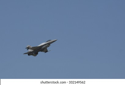 POZNAN, POLAND - JULY 11, 2014:F-16 Fighting Falcon is a single-engine multirole fighter aircraft originally developed by General Dynamics