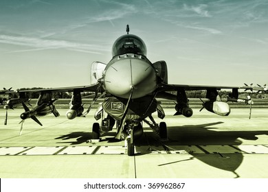 POZNAN, POLAND - JULY 11, 2015:F-16 Fighting Falcon is a single-engine multirole fighter aircraft originally developed by General Dynamics