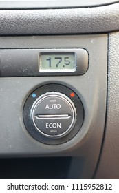 Poznan, Poland - July 12, 2015: Car air conditioning showing 17,5 degrees on a lcd screen