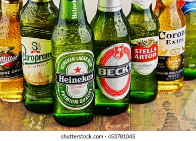 POZNAN, POLAND - JULY 14, 2016: beer is the world's most widely consumed alcoholic beverage; its global market is largely dominated by brands of several multinational corporations