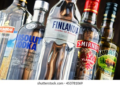 POZNAN, POLAND - JULY 15, 2016: vodka is the worlds largest internationally traded spirit with the estimated sale of about 500 million nine-liter cases a year.