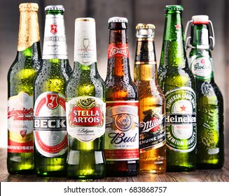 POZNAN, POLAND - JULY 21, 2017: beer is the world's most widely consumed alcoholic beverage; its global market is largely dominated by brands of several multinational corporations