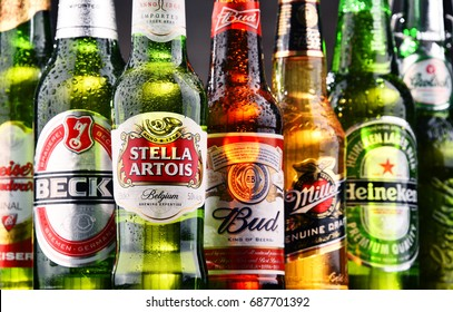 POZNAN, POLAND - JULY 21, 2017: Heineken, Anheuser-Busch InBev, Carlsberg Group and Sabmiller are major producers dominating global market of beer,  the world's most widely consumed alcoholic beverage