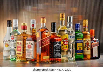 POZNAN, POLAND - JULY 27, 2016:Worldwide some 2 billion people use alcohol, one of the most widely used recreational drugs on earth, with yearly consumption of over 6 liters of pure alcohol per person