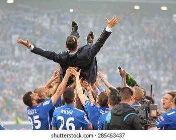 POZNAN, POLAND - JUNE 07: Ekstraklasa Match - KKS Lech Poznan vs Wisla Krakow at the Inea Stadium. Lech Poznan won the Polish Football Championship, JUNE 07, 2015