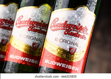 POZNAN, POLAND - JUNE 2, 2017: Budweiser Budvar one of the highest selling beers in the Czech Rep. exported into more than 60 countries, produced in Ceske Budejovice by Budweiser Budvar Brewery