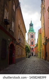 POZNAN, POLAND - June 20, 2019: Bell tower of Basilica of Our Lady of Perpetual Help and St. Mary Magdalene in Poznan