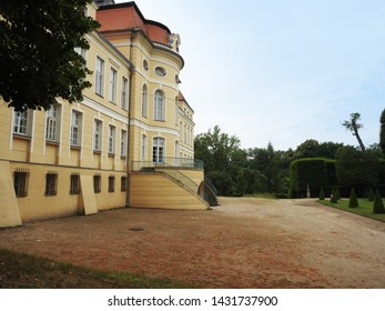 Poznan,  Poland - June 21 2019: The Palace in Rogalin residence was built in the second half of the eighteenth century.