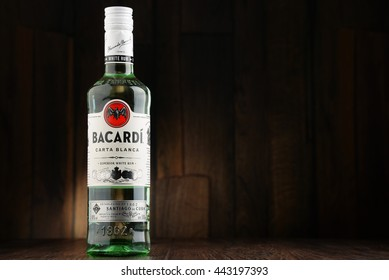 POZNAN, POLAND - JUNE 22, 2016: Bacardi white rum is a product of Bacardi Limited, the largest privately held, family-owned spirits company in the world, headquartered in Hamilton, Bermuda.