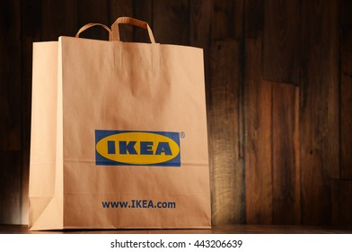 POZNAN, POLAND - JUNE 22, 2016: Founded in Sweden in 1943 IKEA is world's largest furniture retailer, operates 384 stores in 48 countries, it is selling about 12,000 products