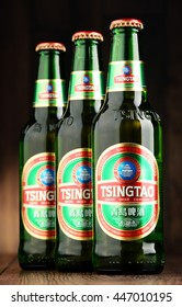 POZNAN, POLAND - JUNE 22, 2016: Tsingtao beer, product of Tsingtao Brewery, China's second largest brewery located in Qingdao in Shandong province