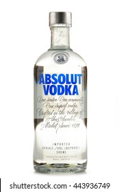POZNAN, POLAND - JUNE 23, 2016: Absolut Vodka is a brand of vodka, produced near Ahus, in Sweden. Owned by French group Pernod Ricard it is one of the largest brand of alcoholic spirits in the world.