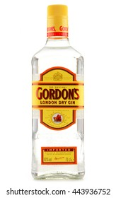POZNAN, POLAND - JUNE 23, 2016: Gordon's is a brand of the world's best selling London Dry gin. It is owned by the British spirits company Diageo.