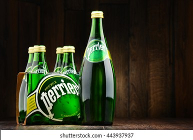 POZNAN, POLAND - JUNE 23, 2016: Perrier is a French brand of natural bottled mineral water sold worldwide and available in 140 countries.