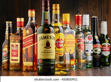 POZNAN, POLAND - JUNE 23, 2016:Worldwide some 2 billion people use alcohol, one of the most widely used recreational drugs on earth, with yearly consumption of over 6 litres of pure alcohol per person