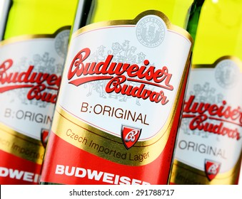 POZNAN, POLAND - JUNE 24, 2015: Budweiser Budvar one of the highest selling beers in the Czech Rep. exported into more than 60 countries, produced in Ceske Budejovice by Budweiser Budvar Brewery