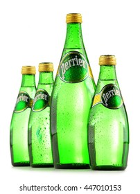 POZNAN, POLAND - JUNE 24, 2016: Perrier is a French brand of natural bottled mineral water sold worldwide and available in 140 countries.