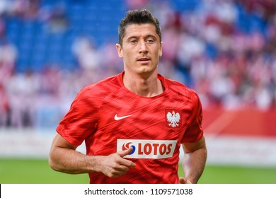 Poznan, Poland - June 8, 2018: International Football friendly match: Poland vs Chile 2:2.  Robert Lewandowski during warm-up.